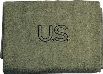"""Olive Drab US Made Military Wool Blanket 62"""" x 80"""" NEW"""