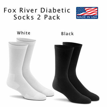 Fox River Diabetic FoxSox with Odor Guard Cushion Crew Socks 2 Pair NEW