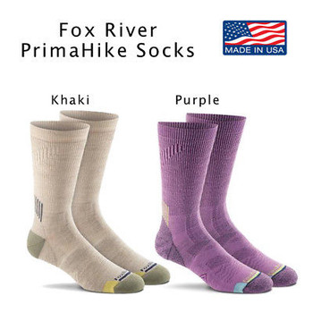 Fox River PrimaHike Primaloft Nano Glide FoxSox Cushion Crew Socks NEW