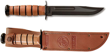 Ka-Bar USMC Straight Edge with Leather Sheath