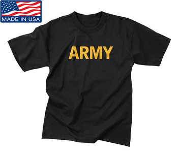 Black APFU Army PT Shirt Physical Training Tee Current Issue Made in USA