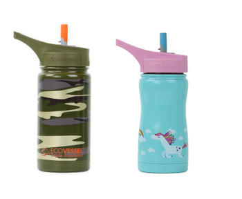 EcoVessel Frost Kids 13oz Insulated Water Bottle with Flip Straw Top