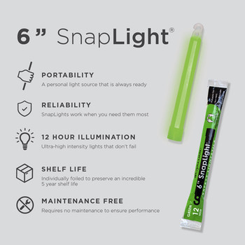 Cyalume 6 inch Green SnapLight 12hr Light Stick 10pk