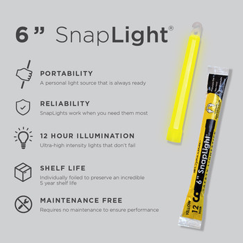 Cyalume 6 inch Yellow SnapLight 12hr Light Sticks 10pk