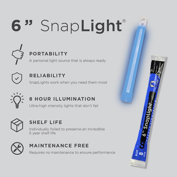 Cyalume 6 inch Blue SnapLight 8hr Light Sticks 10pk