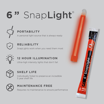 Cyalume 6 inch Red SnapLight 12hr Light Sticks 10pk