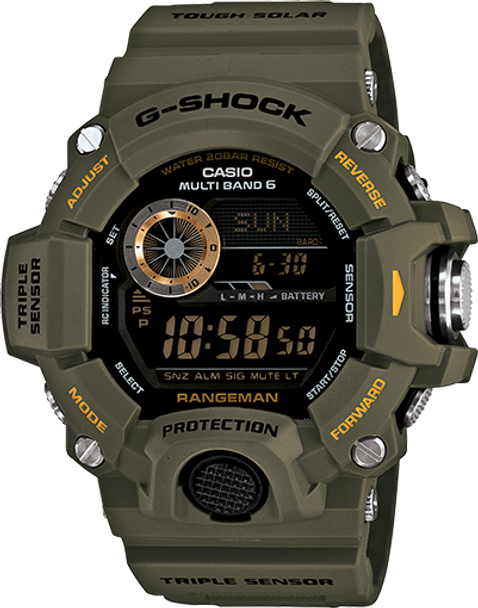 Casio G-Shock Rangman Triple Sensor Solar Watch GW9400-3 Green