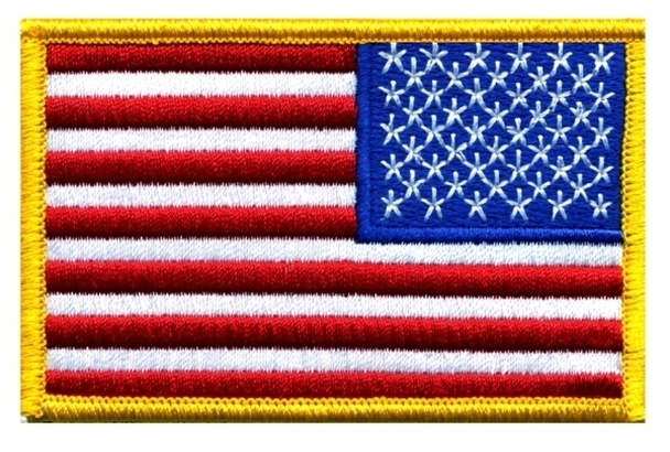 "U.S. Flag Patch, Reverse, Full Color, (3-1/2 x 2-1/4"")"