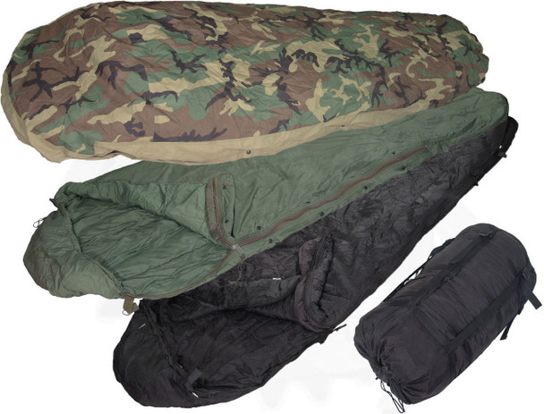 USGI 4pc Modular Sleep System MSS Woodland Camo Sleeping Bag -55 Degrees Very Good Condition