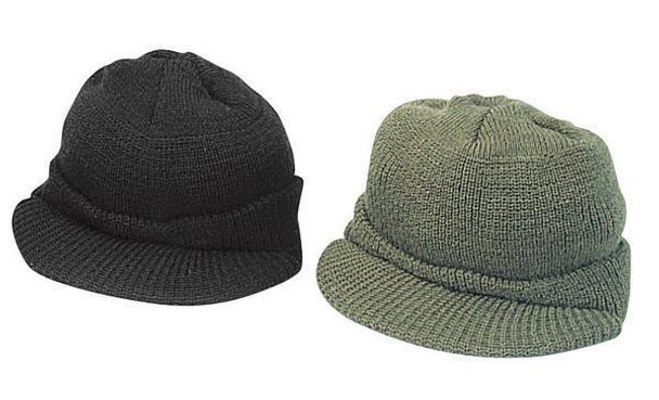 100% Wool Military Jeep Cap Tactical Knit Cap with Bill USGI USA Made NEW 4ff03028b829