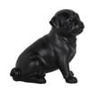 Pug Dog Matte Black Statue Sitting