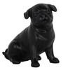 Pug Dog Matte Black Statue Sitting-3