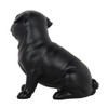 Pug Dog Matte Black Statue Sitting-5