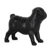 Small Pug Dog Standing Statue - Matte black resin -4