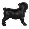 Small Pug Dog Standing Statue - Matte black resin -5