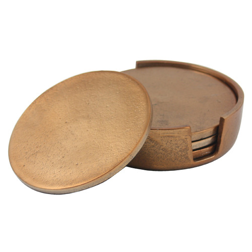 Rough Copper Coasters Set of 4 in Holder