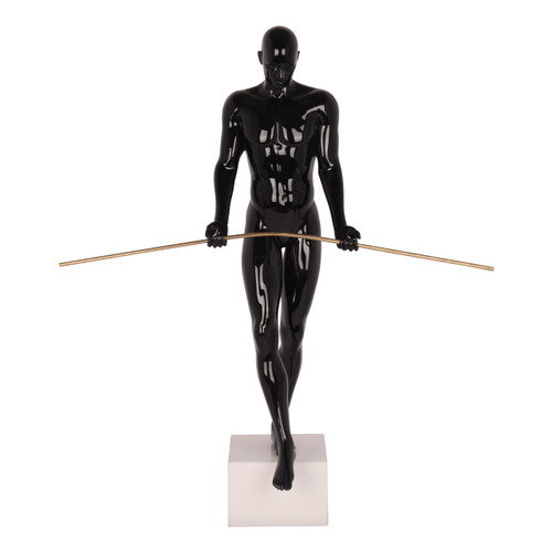 The Balancing Man Sculpture in Black Gloss