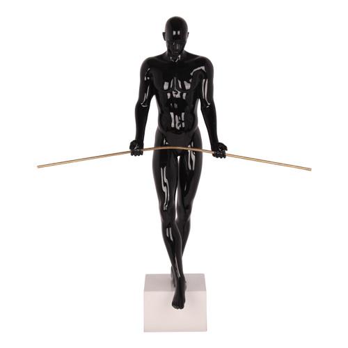 The Balancing Man Sculpture in Black Gloss