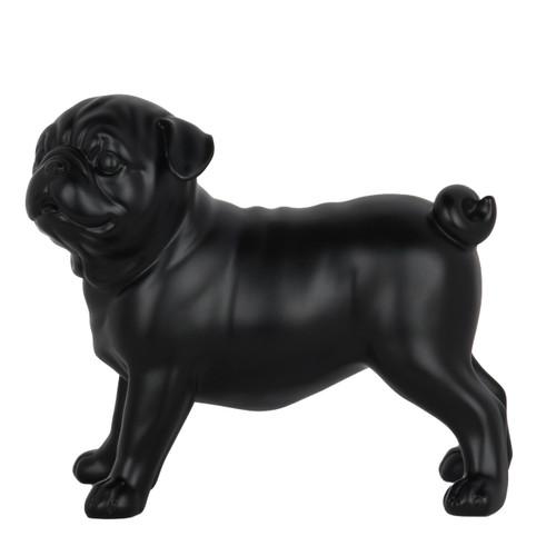 Small Pug Dog Standing Statue - Matte black resin -2