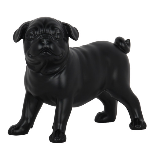 Small Pug Dog Standing Statue - Matte black resin