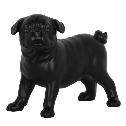 Small Pug Dog Standing Statue - Matte black resin