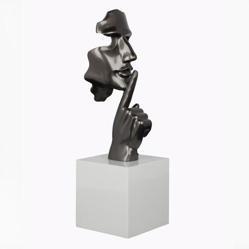 Face and Finger Sculpture - Metallic Grey