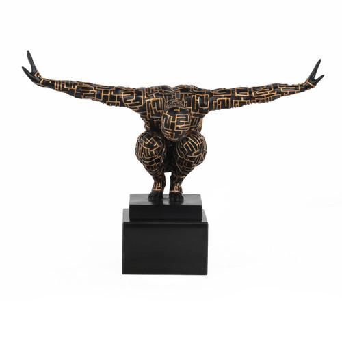 Labyrinth Male Athlete Sculpture - Black & Gold