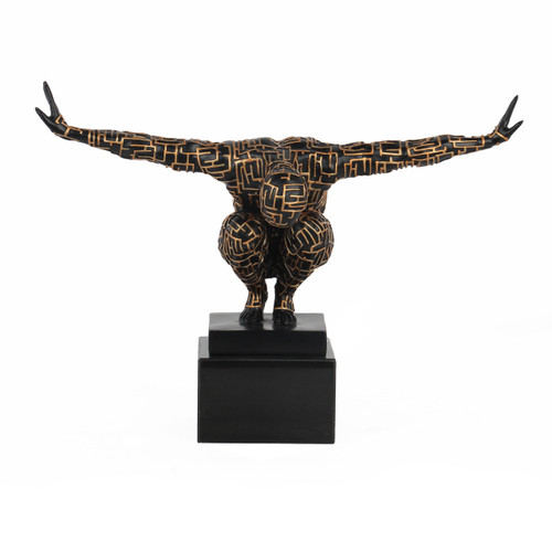 Labyrinth Male Athlete Sculpture - Black & Gold