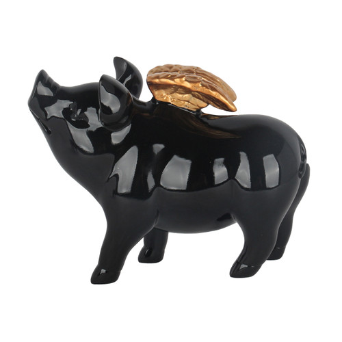 Angelic Pig in Black Gloss