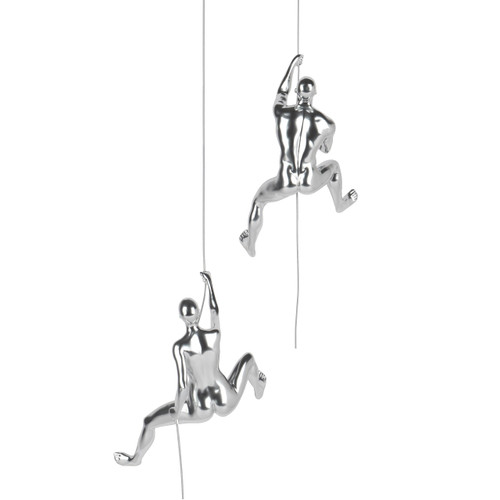 Climbing Couple Onward and Upward (Man & Woman D) Silver Steel Finish