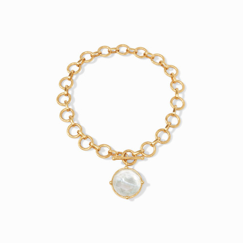 Honeybee Statement Necklace-Gold Iridescent Clear Crystal Reversible