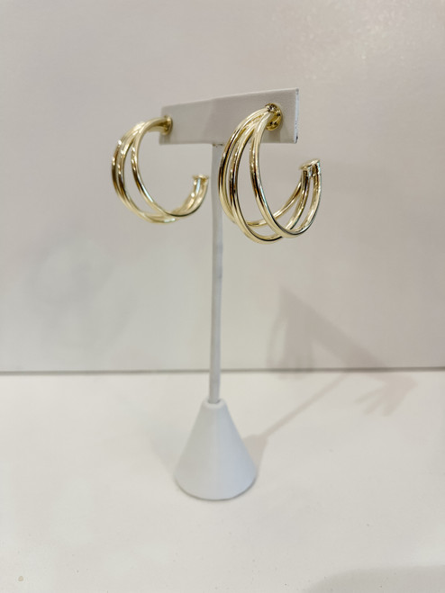 18K Gold Plated Claire Triple Hoop - Regular