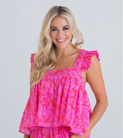 Floral Ruffle Tank-Hotpink