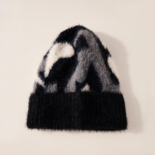 Camouflage Patterned Cuff Beanie - Black