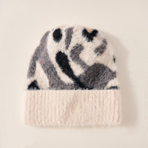Camouflage Patterned Cuff Beanie - Ivory