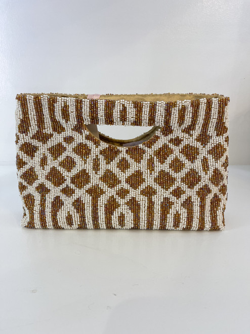 Beaded Top Handle - Gold & Ivory