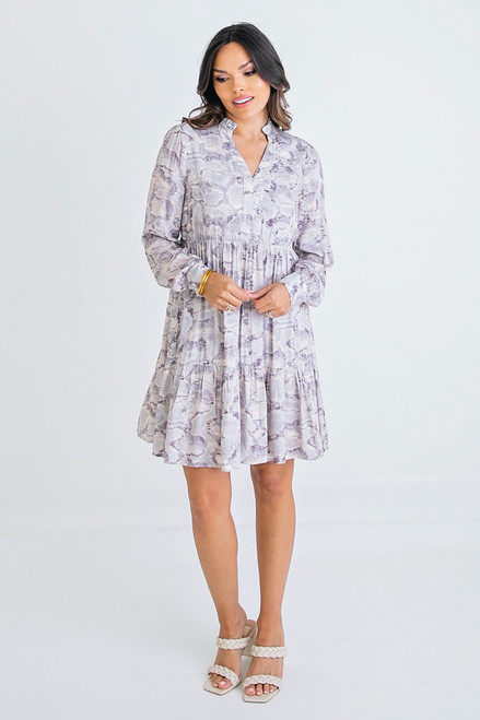Abstract Vneck Tier Dress