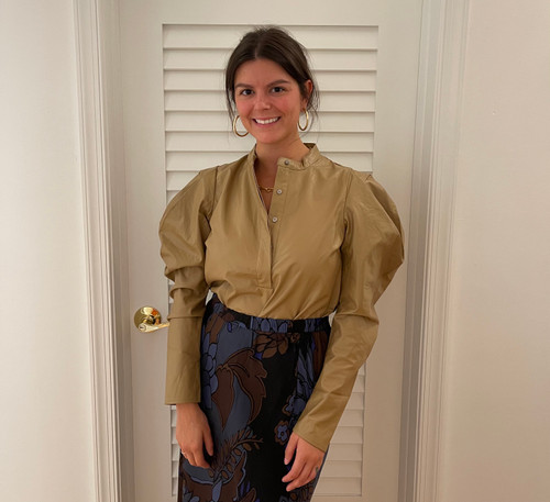 Solid Pleather Puff Slv Top - Brown