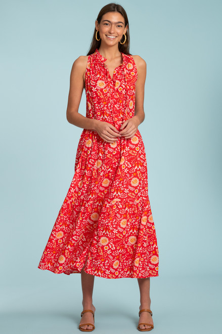 Ro Long Dress-Peacock Floral Rouge