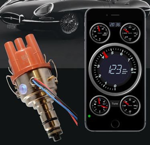 "Bluetooth for Jag MGC Triumph 6 cyl British Cars  Here are all the features offered :   - rotation CW and CCW ( autodetect )  - for 6 Volt and/or 12 Volt cars ( autodetect )  - variable dwell constant current, fully autom. ( autodetect )  - coil current protection time-out after 1 second ( autodetect )  - for positive and negative earthed cars ( 123\TUNE-8 is for neg.earth ONLY )  - programmable centrifugal advance curve ( 500 to 8000 rpm )  - programmable vacuum-advance and boost-retard curve ( 0 to 200 kPa or -30 inHg to +15 psi )  - rev.limiters ( advanced random spark stealing )  - real-time tuning ( ideal for working on a rolling road )   Electronic ""dashboard"" with :   -temperature gauge ( selectable in degrees Celsius or Fahrenheit )  -manifold pressure ( selectable in Bar or inches Hg / Psi )  -rev. counter ( 0 to 8000 rpm crankshaft )  -spark-energy gauge ( primary coil current )  -total-advance gauge ( in degrees crankshaft )    Available in 4- , 6- and 8- cylinder models with various sizes and shapes."
