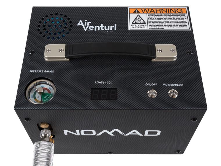 Air Venturi Nomad II 4500 PSI Portable PCP Compressor, top view, for sale at high pressure pneumatics
