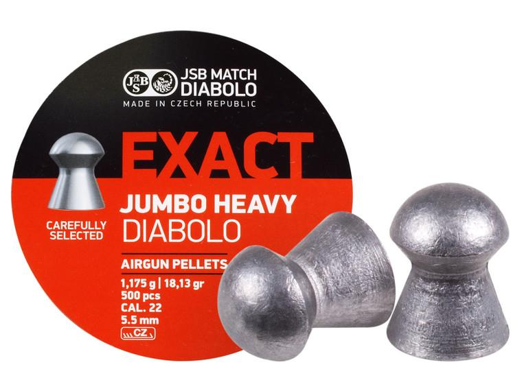 JSB 22Cal 18.13gr Jumbo Heavies 500ct 5.53, top view, for sale at high pressure pneumatics