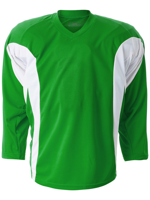 Hockey Jersey Kelly Green / White 100% Pro weight fabric Flow-Tech Breathable Mesh