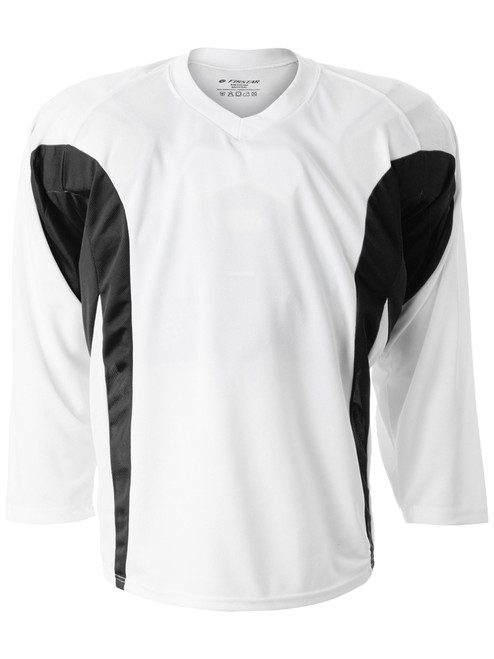 Firstar Rink Flow Hockey Jersey White with Black Breathable Mesh