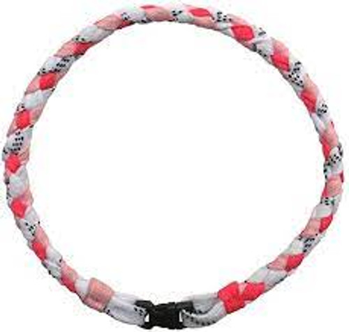 Necklace - Hockey Lace - 18 Inch Pink/White