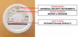 Recall Alert - Universal Security Instruments Smoke Alarms.  Two Alarms Require Inspections