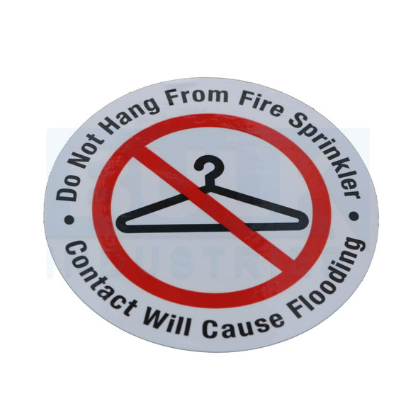 """Do Not Hang From Fire Sprinkler Sign - 3"""" Vinyl - Roll of 100 Stickers"""