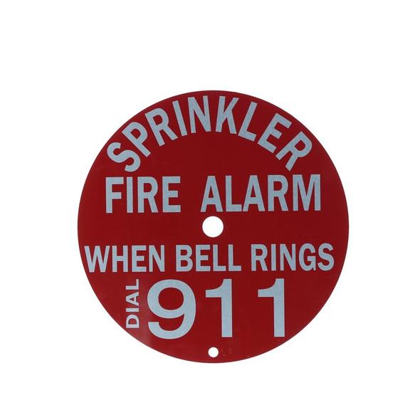 "Fire Sprinkler Alarm Bell Sign, Dial 911, Aluminum, 6"" Round"