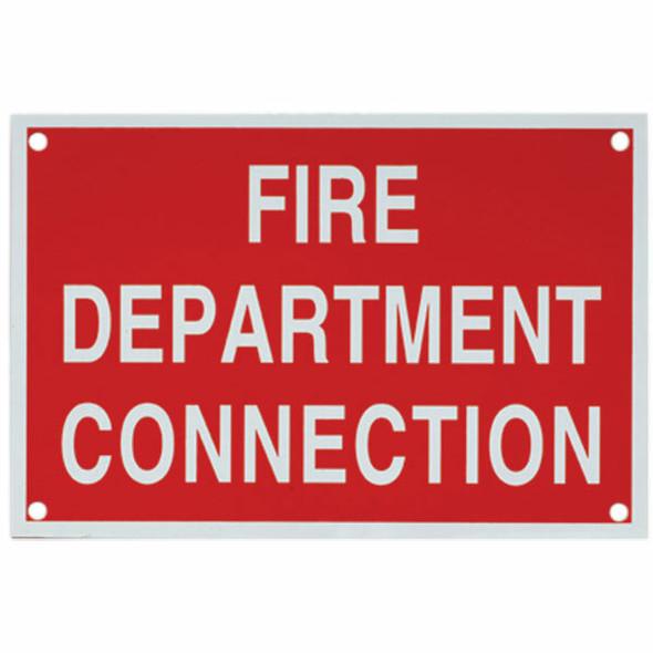 """Fire Department Connection"" Sign, Aluminum, 4"" x 6"""