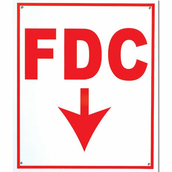 """FDC"" Sign w/ Arrow, 4"" Letters, Aluminum, 12"" x 10"""